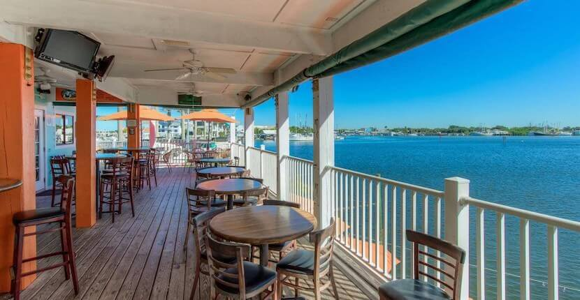 The Upper Deck Bar overlooking Estero Bay at Matanzas on the Bay restaurant in Fort Myers Beach, Florida.