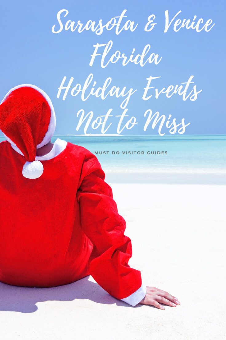 Santa on white sand beach. Sarasota & Venice Florida Holiday Events not to miss. Must Do Visitor Guides