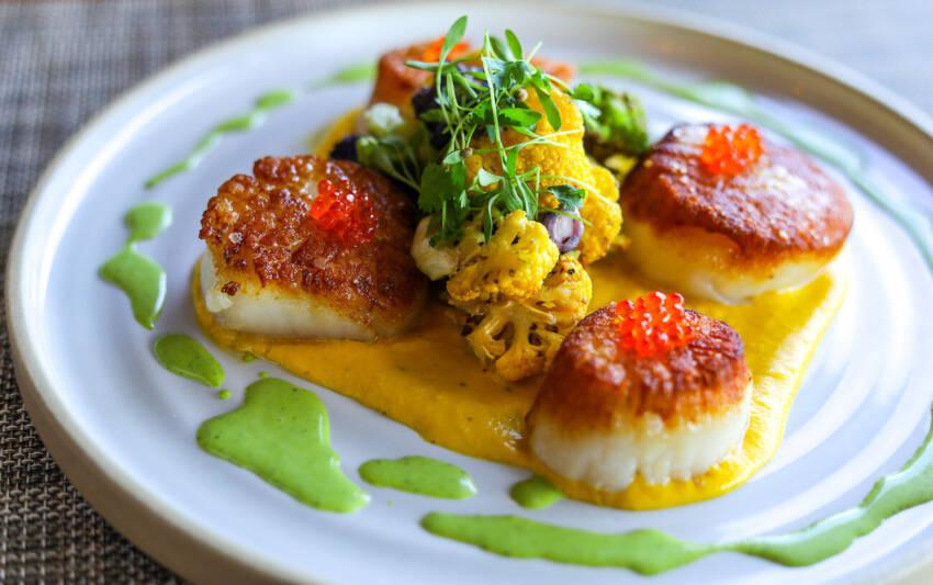 Scallops with caviar Baker & Wife restaurant Sarasota, Florida.