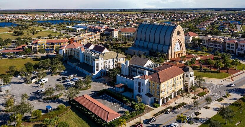 Aerial view of the town of Ave Maria near Naples, Florida.