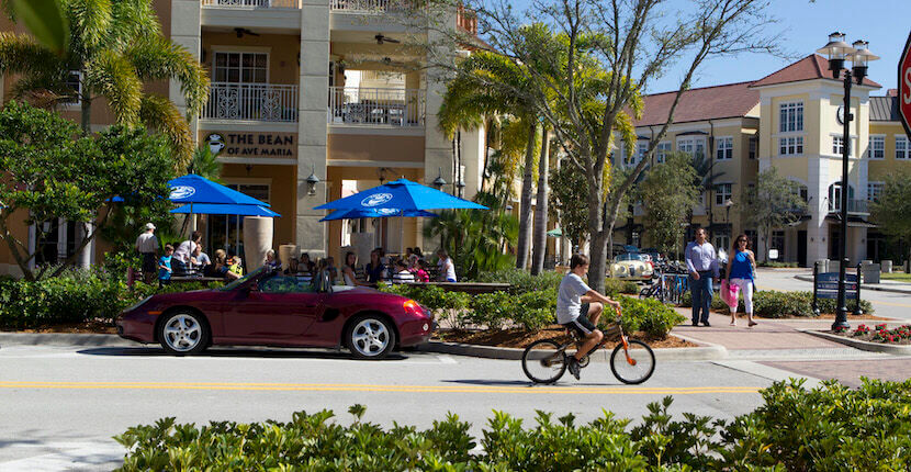 Shops and restaurants in the town center of Ave Maria, Florida.