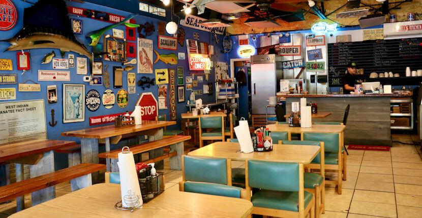 Interior of Big Water Market & Deli seafood restaurant Siesta Key, Florida. Must Do Visitor Guides | MustDo.com