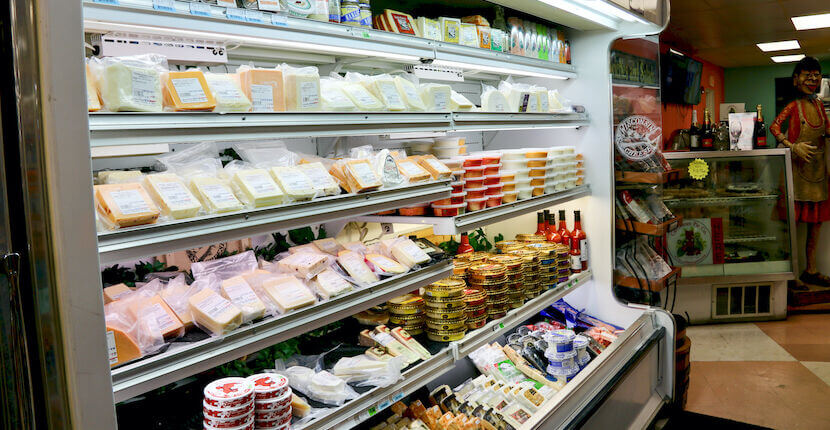 Assortment of gourmet cheese at Crescent Beach Grocery in Siesta Key, Florida