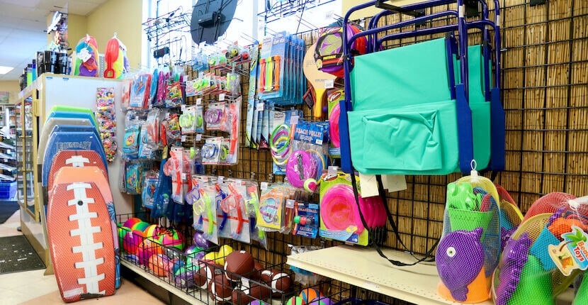 Beach supplies available at Crescent Beach Grocery in Siesta Key, Florida