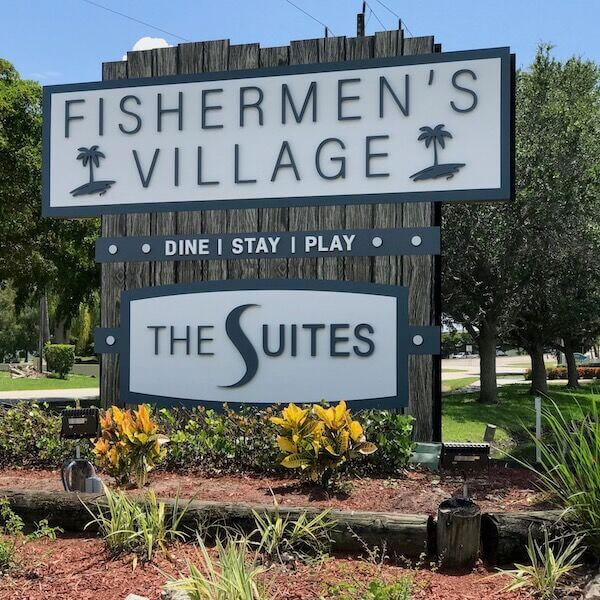 Entrance sign to Fishermen's Village and The Suites Punta Gorda, Florida