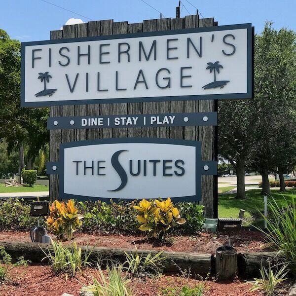 Entrance sign to Fishermen's Village and The Suites Punta Gorda, FL