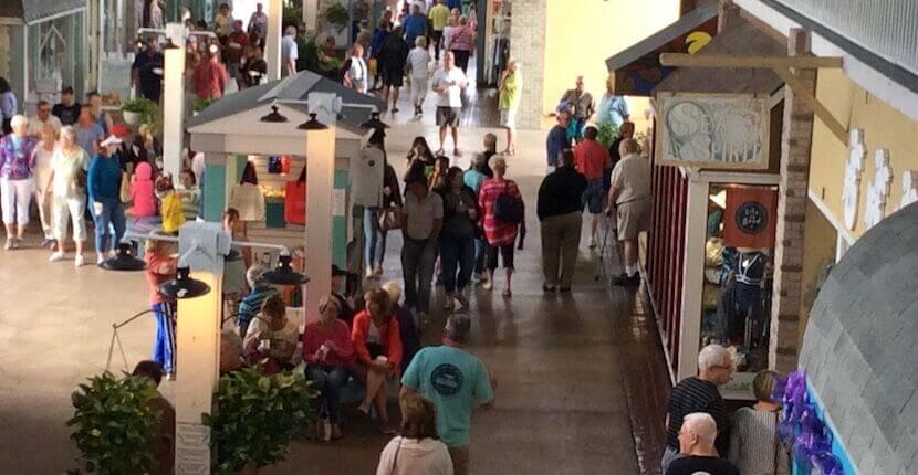 People shopping at Fishermen's Village in Punta Gorda, Florida.