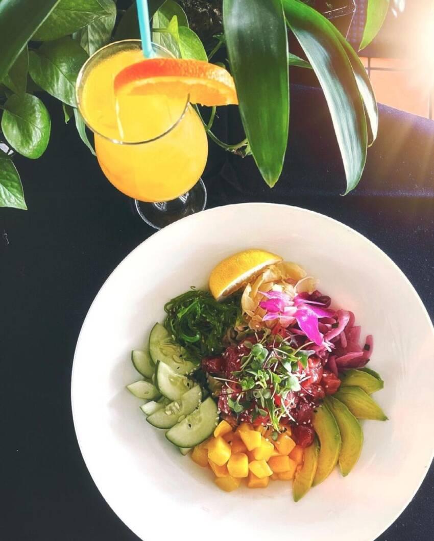 Ahi Tuna Poké bowl and a mimosa Marina Jack restaurant Sarasota