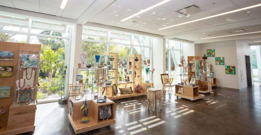 Display of items in gift shop at BIG Arts cultural arts center in Sanibel, Florida.