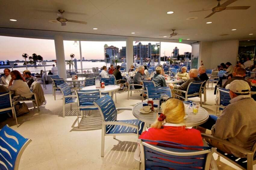 Marina Jack open-air waterfront restaurant with people dining Sarasota, Florida.