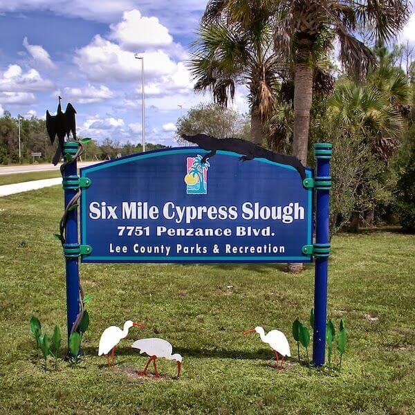 Park entrance sign Six Mile Cypress Slough Preserve in Fort Myers, Florida.